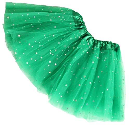 KayMayn Tutu Minirock Ballettrock Prinzessin funkelndes Kleid Tutu Ballett Mehrlagig Fancy Rüschen Dance Petticoat Mädchen Damen Party Kleid Gr. Erwachsene, Grün 2
