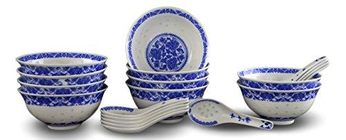 10PCS feines Porzellan blau und weiß Reis Muster Schalen, Müslischalen, Reis Schalen mit gratis 10Porzellan Löffel Jingdezhen China Suppe Schüssel, Obstschale Set China Schüssel