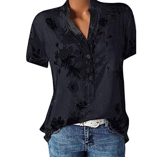 BaZhaHei Top Damen Sommer Damenmode V-Ausschnitt Tops T-Shirt Bluse Mode Lange ärmel Shirt Bedruckte Tasche Plus Size Kurzarmbluse Drucktasche Plus Size Kurzarm Bluse Easy Top Shirt (S, Schwarz) -