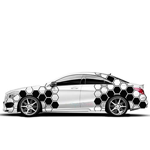Auto Seitenaufkleber Set Muster Waben Rauten Hexa offen/zu Style Aufkleber Motorhaube Sticker Tuning Motive Fahrzeugverklebung Dapper Illest Stance -