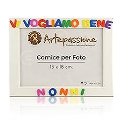Idea Regalo - Cornici per foto in legno con la scritta Vi Vogliamo Bene Nonni, da appoggiare o appendere, misura 13x18 cm Bianca. Ideale per regalo e ricordo.