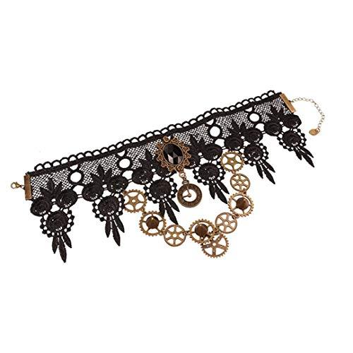 Frauen Steampunk Gothic Ketten Statement Gang Chain Design Hohle Blumen-Reizvolle Spitze-Halskette Schmuck Accessoires
