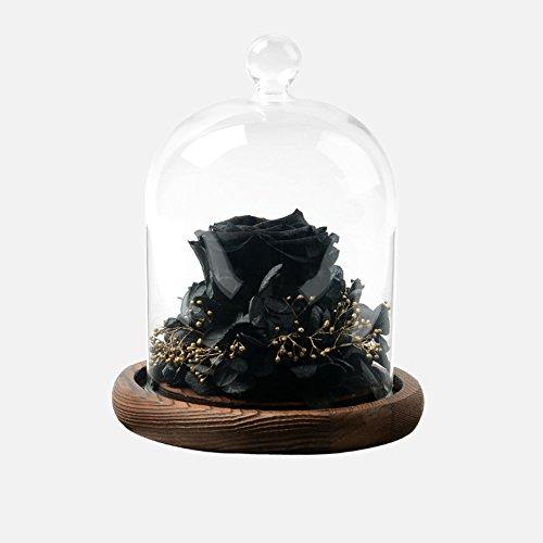 Boîte de cadeau fleur éternelle,Ornements de verre Rose séchée Fleurs Éternelle Naturel Décorations de noël Party Wedding-C 12.5x16cm(5x6inch)