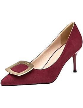 Scamosciato Donna Tacchi alti Di BIGTREE Elegante Punta punta Metallo Fibbia Vestito Scarpe con tacco