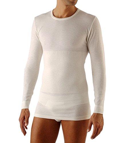 Relaxsan ortopedica 1400 (bianco, tg.5) maglia termica uomo manica lunga lana cotone con fascia lombare vertebrale