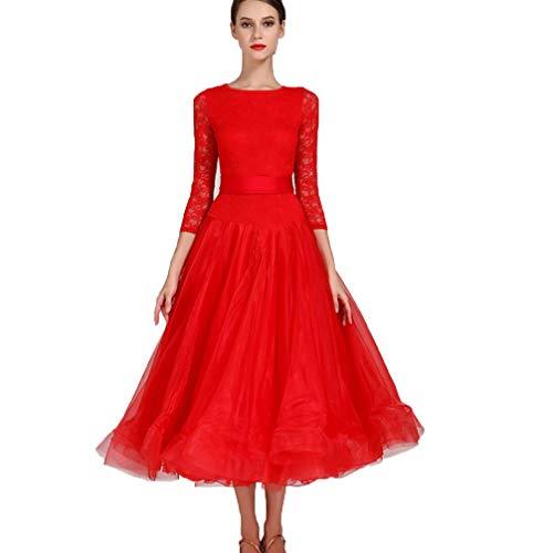 (Rongg Ballsaal Tanzkleider für Frauen Schnüren Walzer Tanzrock Modern Tanz-Outfit Nationales Standardkleid, XXL)