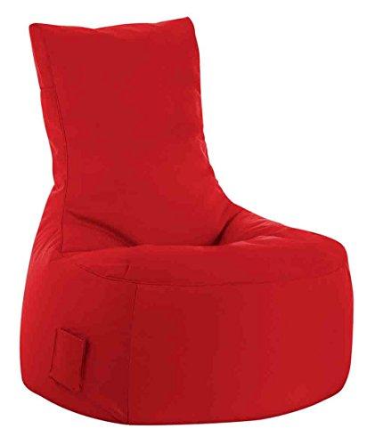 lifestyle4living Sitzsack für draußen in Rot aus wasserabweisendem Microfaserstoff | Bequemer Indoor/Outdoor Sitzsackstuhl mit Tasche, 300 l