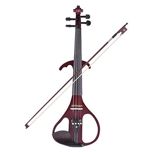 VE-209 Full Size 4/4 Massivholz Silent Electric Violin Fiddle Maple Korpus Ebenholz Griffbrett Heringe Kinnhalter Saitenhalter mit Bogen Hard Case Tuner Kopfhörer Audiokabel Extra Saiten Weiß -