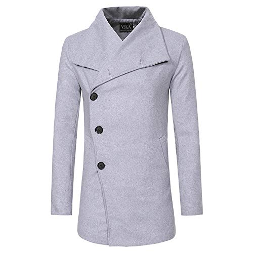 (Zegeey Herren Herbst Winter grabenstaubmantel warme Jacke beiläufige Mantel dünne Lange Graben knöpfe mäntel)