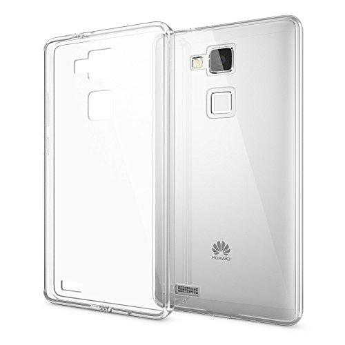 NALIA Handyhülle kompatibel mit Huawei Ascend Mate 7, Durchsichtiges Slim Silikon Case Transparente Hülle, Rückseite und Bumper, Crystal Schutzhülle Cover Etui Dünn Phone Handy-Tasche - Transparent