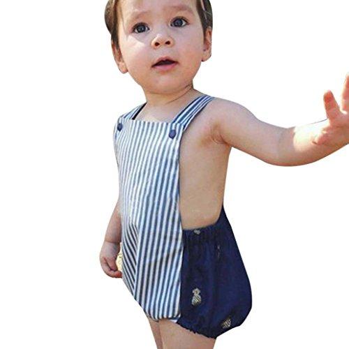 PINEsong Säugling Baby Mädchen Jungen Streifen Spielanzug Overall Sonnenuntergang Bodysuit Kleidung Outfits (Marine, 24M) (Säuglings-camo-kleidung)