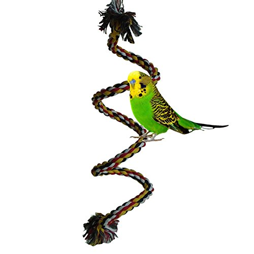 Bello Luna 39in Vogel Barsch Seil Bungee Vogel Schaukel Spielzeug für Papagei mit Glocke -