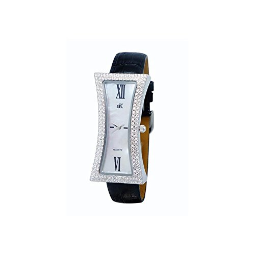 ADEE KAYE WOMEN'S CURVY BLACK LEATHER BAND BRASS CASE QUARTZ WATCH AK9715-LBK