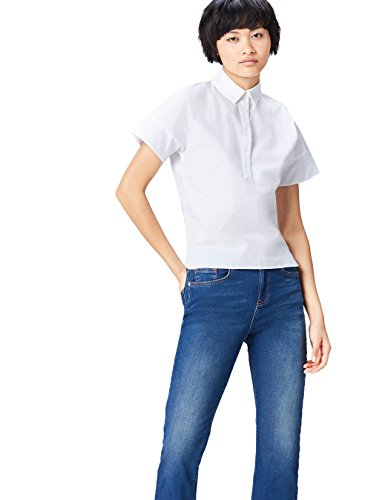 FIND Step Hem Camisa para Mujer, Blanco (White), 40 (Talla del Fabricante: Medium)