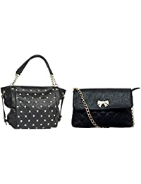 Hanso Collection Jennet Satchel Bag And Zina Sling Bag (CMB2-LBHBPU29BLK-1-LBHBPU34BLK, PU, Black)