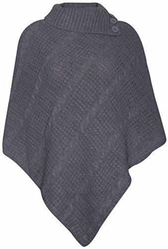 Poncho (Damen Cape-Schal langer Strickpullover mit Rollkragen gefalteter Jumper Damen-Poncho Top Einheitsgröße - Einheitsgröße, Dunkelgrau)