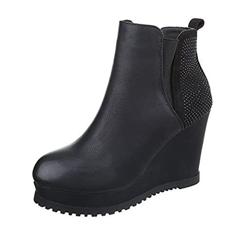 Keilstiefeletten Damen-Schuhe Plateau Keilabsatz/ Wedge Keilabsatz Ital-Design Stiefeletten Schwarz, Gr 37, (Keilabsatz Schwarz)