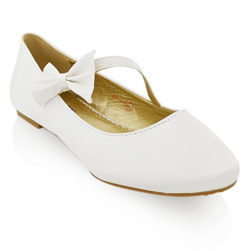 ESSEX GLAM Damen Ballerinas Modische Pumps Flats Mit Schleife Party Schuhe (UK 5 / EU 38 / US 7, Weiß Satin)
