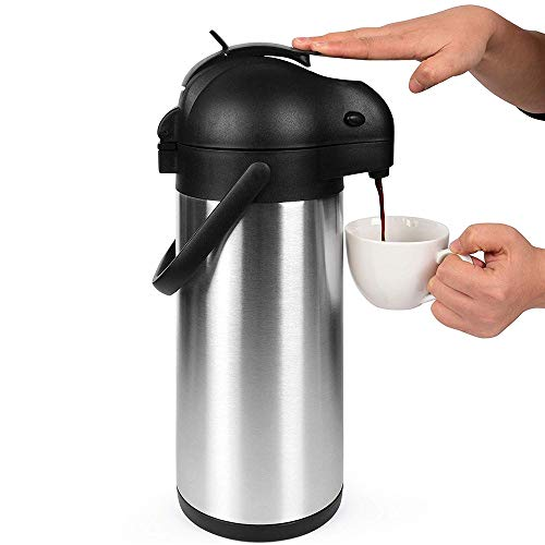 LARRY SHELL 2,5 L Airpot Thermal Coffee Dispenser Carafe/Lever Action Insulated Edelstahl Kaffee Thermos Urn für Hot/Cold Water 12 Stunden Hour-Retention 2,5 L Airpot