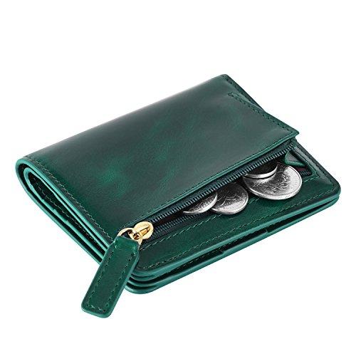Kattee Damen RFID Blocking Brieftasche Kreditkartentaschen Leder Klein Bifold Portemonnaie Reißverschluss Geldbörse Grün (Grün Leder-geldbörse)