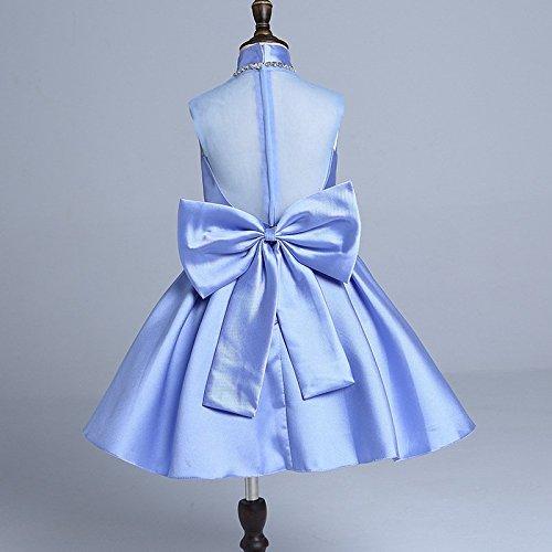 QTONGZHUANG Mädchen Kleid Kinder Temperament High Neck Kleid koreanischen Twill Satin Bogen Kinder, hellblau, ()