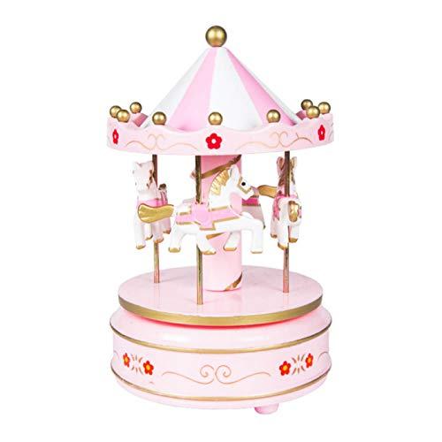 NBVNVG Credible Carousel Music Box Party Kinder Geburtstag Creme Fondant Kuchen Dekoration rosa 1
