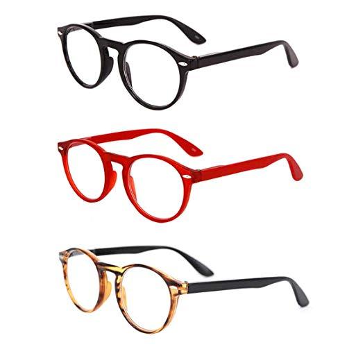 Inlefen Retro Runde 3er Pack Lesebrille für Herren und Damen Brillen zum Lesen +1.0 bis +3.5