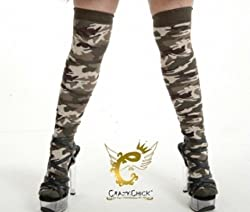 Khaki Army Camouflage Over The Knee Socks - Uk 4-6½