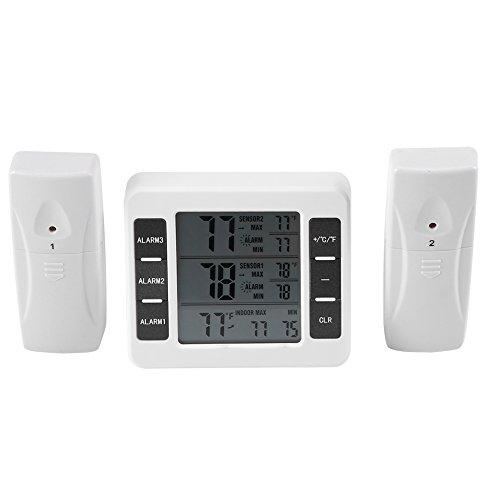 TOPINCN Thermomètre de réfrigérateur congélateur Thermomètre Digital Alarme sonore avec capteur sans Fil Min/Max écran 2 pcs