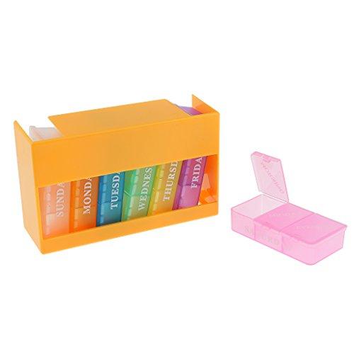 MagiDeal Pillendose Pillenbox Tablettendose Tablettenbox Wochendosierer 7 Tage (Jede Box mit 3 Fächer Für jeden Tag) - Gelb