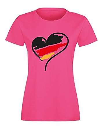 Europameisterschaft 2016 Deutschland Herz – Damen Rundhals T-Shirt
