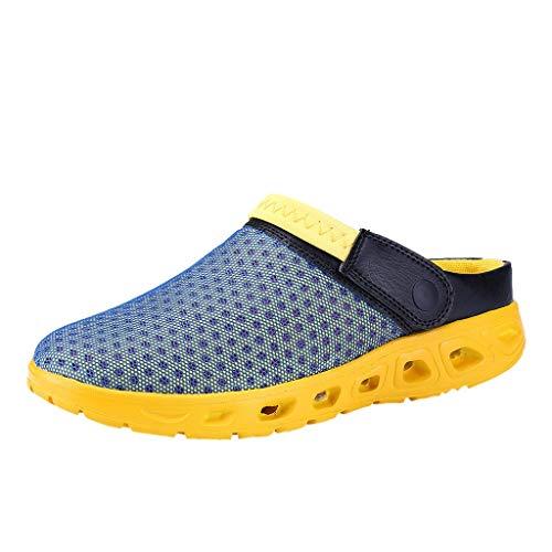 Sandalen für Unisex/Skinny Damen Herren Sommer Sport Mesh Duschschuhe Badeschuhe Beach Hausschuhe rutschfest Outdoor Pantoletten Slip-On Garden Clogs Flip Flops 36-46 EU Ausverkauf(Gelb,39 EU)