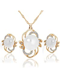 Glitz Bridal Fashion Gold Plated Crystal Zircon Floral Stud Faux Pearl Dangle Jewelry Set For Women