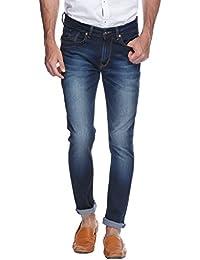 Spykar Mens Dark Blue Super Skinny Fit Low Rise Jeans (Actif)