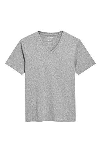 Next Herren T Shirt Kurzarm V-Ausschnitt Normale Passform Unifarben Top T-Shirt Mittelgrau