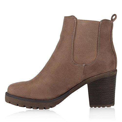Damen Stiefeletten Blockabsatz Chelsea Boots Profilsohle Khaki Hellbraun