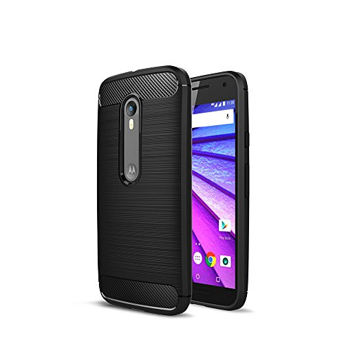 CRUST™ [CarbonX] Premium Moto G3 / Moto G Turbo Back Case Cover, [Brushed Metal] and [Carbon Fiber] Texture with [Air Cushion Technology] Shock Proof Rugged Armor [Ultra Slim Fit] Soft TPU Case For Motorola Moto G (3rd Gen), Moto G Turbo Edition – Retail Packaging