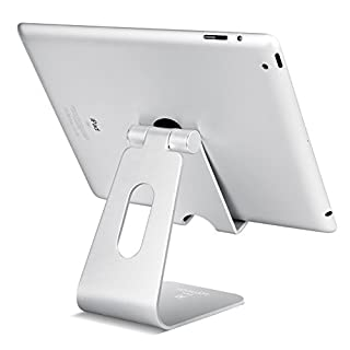 Tablet Stand, Lamicall Adjustable Tablet Holder : Desktop Stand Dock Compatible with New Pad 2018 Pro 10.5 / 9.7 / 12.9, Air mini 2 3 4, Nintendo Switch, Samsung Tab, other Tablets - Silver