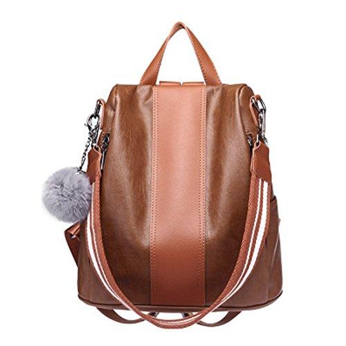 WTING Damenrucksack Braunes Leder PU (Color : Brown) (Braune Schaffell-leder)