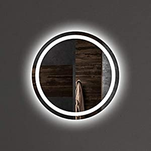 VON ADELBERG Wandspiegel mit LED Beleuchtung LED Badspiegel Badezimmerspiegel Lichtspiegel Runde Spiegel Power LED Fortuna, LED Lichtfarbe:K (Kaltweiß), Größe:Durchmesser Ø 50 cm