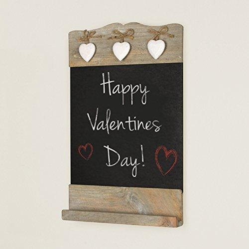 Weiß Holz rustikal Tafel mit Tafel Face, Regal und 3Dekorative Metall Herzen zum Aufhängen 37x 24cm–Eine Fantastische Wert Personalisiertes Geschenk Idee für ()