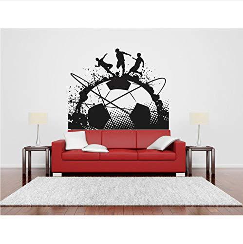 (Fushoulu 52X42Cm Große Tinte Fußball Kunst Decals Fußball Spiel Spieler Ball Sport Wand Vinyl Aufkleber Kinder Mädchen Jungen Schlafzimmer Kopfteil Wandbilder)