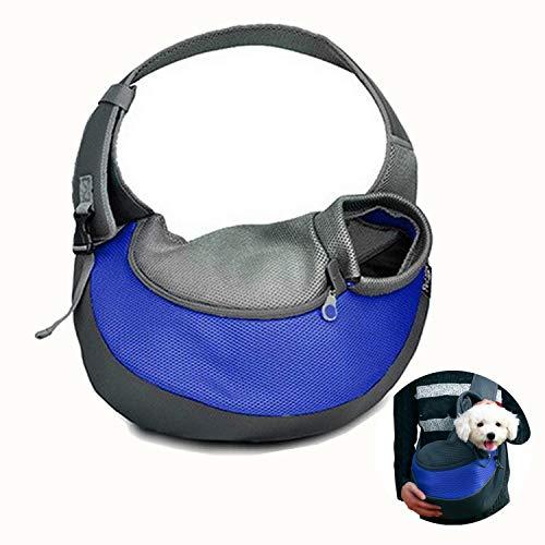Topwell Pet borsa trasportino a spalla per cane e gatto con tracolla cani gatti Borsa da viaggio per Trasportino da passeggio ideale per cani o gatti piccola (M, BLU)
