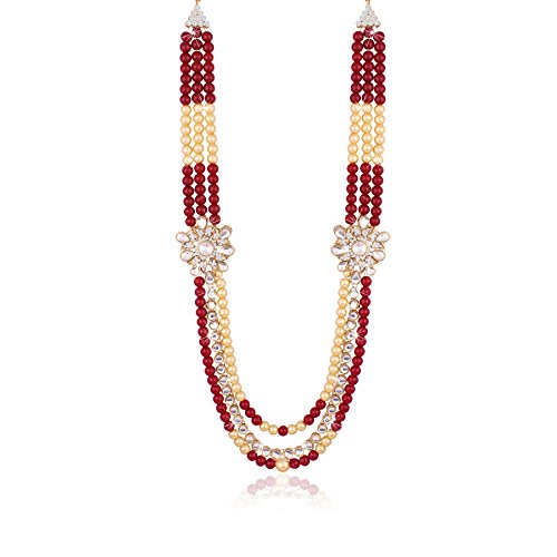 I Jewels Red Gold Plated Moti Mala Necklace for Men