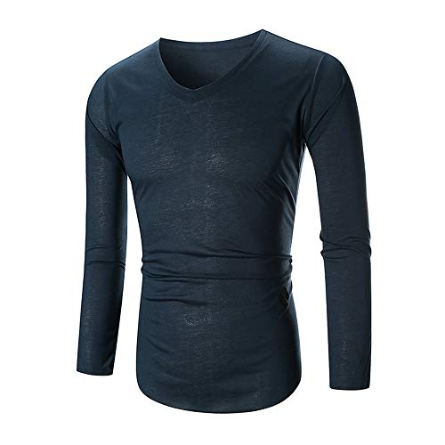 0478976f4fa5 T-Shirt à Manche Longue - Hommes Tee Slim Fit Col V Manches Longues Muscle