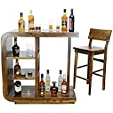 Furniture World Pre-Assemble 100% Sheesham Wood Curvy Bar Table for Home and Bar