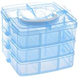 SODIAL(R) Blue Plastic Empty 3 Layer Storage Case Box Nail Art Craft Makeup By SODIAL(R)