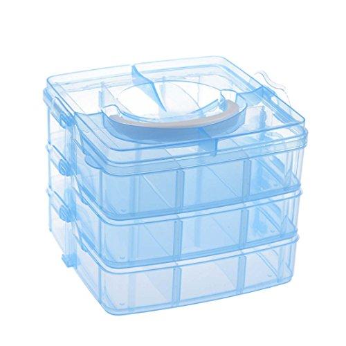 SODIAL(R) Boite de rangement Vide de 3 couches en Plastique Bleu pour le stockage de l'art des ongles et les artisanat de maquillage