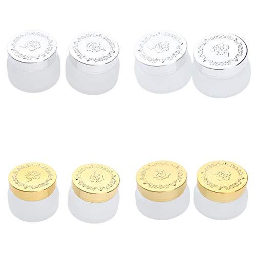 Fenteer 8pcs 30g Pots Vide de Maquillage Bocaux Verre de Cosmétiques Maquillage Rangement Produits de Beauté avec Couvercle étanche