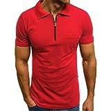 Magiyard La Mode Personnalité Hommes Casual Mince Manches Courtes Poches T-Shirt Chemisier Top Blouse Rouge L3